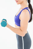 Fit woman lifting dumbbell Royalty Free Stock Photo