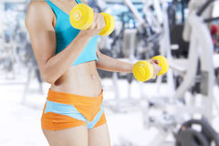 Fit Woman Lifting Dumbbells Stock Image