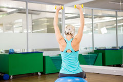 Fit woman lifting dumbbells and sitting on exercise ball Royalty Free Stock Photography