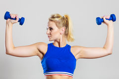 Fit woman lifting dumbbells weights Stock Photography