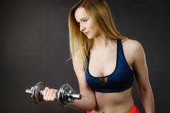 Fit woman lifting dumbbells weights Royalty Free Stock Images