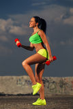 Fit woman lifting dumbbells Stock Photos