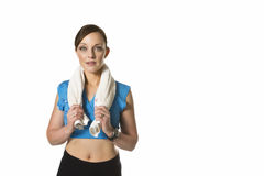 Woman exercise towel Royalty Free Stock Photo