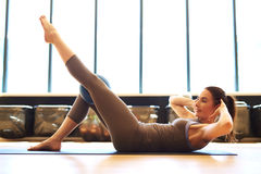 Fit woman in pilates class Royalty Free Stock Images