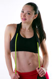 Fitness model with  resistance band Stock Photos