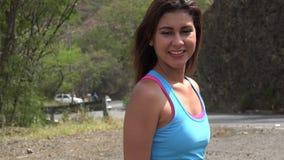 Fit Woman Posing Near Road stock video