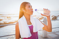 Fit woman resting and drinking water at promenade Stock Photography