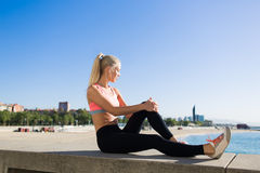 Fit woman resting after jog royalty free stock photos