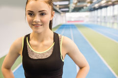 Fit woman on the running track Royalty Free Stock Image