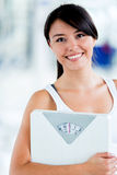 Fit woman with a scale Stock Photography
