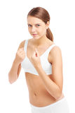 Fit woman showing her fists royalty free stock photography