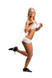 Fit woman with skipping-rope Royalty Free Stock Image