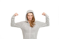 Fit woman sport wear. Beautiful young fit woman in greay sport wear standing on white background Stock Photo