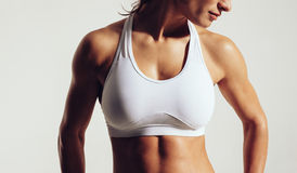 Fit woman in sports bra Stock Photo