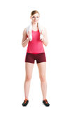 Fit woman in sportswear doing physical exercises Stock Photo