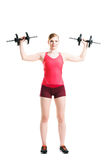 Fit woman in sportswear doing physical exercises Royalty Free Stock Images