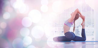 Fit woman stretching body in exercise room Royalty Free Stock Photo