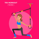 Fit woman stretching her leg to warm up - isolated over white background. Vector detailed character Fit woman and TPX training. Happy and sporty girl Stock Images