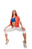 Fit woman stretching. on tiptoe Royalty Free Stock Photos