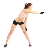 Fit woman stretching to warm up -  over white background Stock Photo