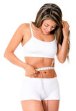 Fit woman taking measurements Stock Images