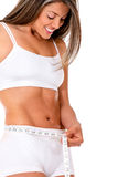 Fit woman taking measurements Stock Image