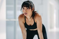 Fit woman taking rest after workout in health club. Close up of fit young woman taking rest after workout in health club. Tired caucasian female leaning over Stock Image