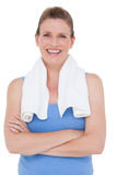 Fit woman with towel on shoulders Royalty Free Stock Photos