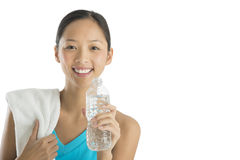 Fit Woman With Towel And Water Bottle Stock Photo