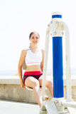 Fit woman training outdoors on a vacation Stock Photo