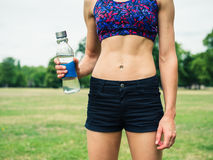 Fit woman with water bottle in park Royalty Free Stock Image