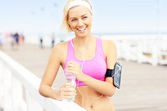 Fit woman with water Stock Photos