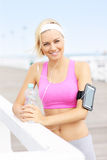 Fit woman with water Royalty Free Stock Image