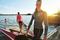 Fit Woman With A Kayak Stock Photo