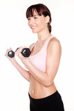 Fit Woman Working With Dumbbells Royalty Free Stock Photography
