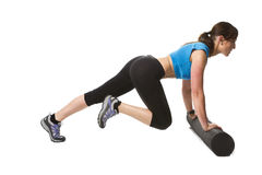 Woman exercise foam floor Stock Photography