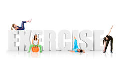 Fit women around word exercise Stock Image
