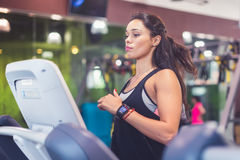 Fit women doing cardio exercises, running on treadmills in the gym. Royalty Free Stock Photo