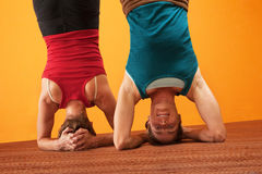 Fit Women Doing Headstands Royalty Free Stock Image