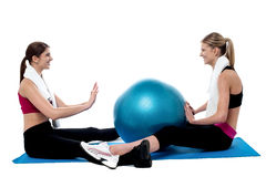 Fit women practicing an exercise with pilates ball Royalty Free Stock Image