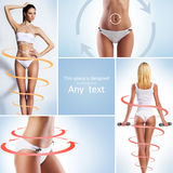 Fit women in swimsuits and arrows Royalty Free Stock Photos