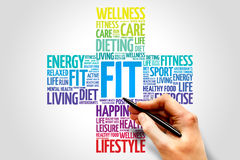 FIT. Word cloud, health cross concept Royalty Free Stock Photo
