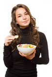 Fit young brunette with salad. Stock Images