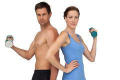 Fit young couple exercising with dumbbells Stock Image