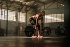 Fitness model performing weight lifting exercise at gym. Fit young female athlete lifting heavy weights. Fitness model performing weight lifting exercise at gym Royalty Free Stock Photos