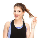 Fit young female trainer Stock Images