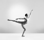 A fit young male ballet dancer on grey Stock Images