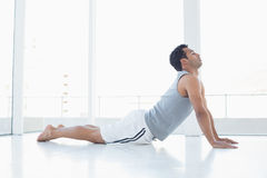 Fit young man doing the cobra pose in fitness studio stock photos