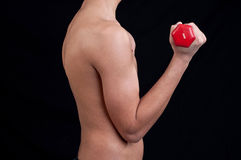 Fit young man exercising with dumbbell Stock Photo