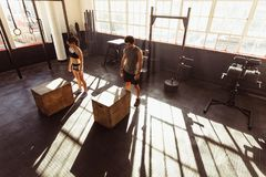 Fit young people doing box jump in gym. High angle view of men and women about to jump on fit box at gym. Fit young people doing box jump in a cross training gym Stock Image